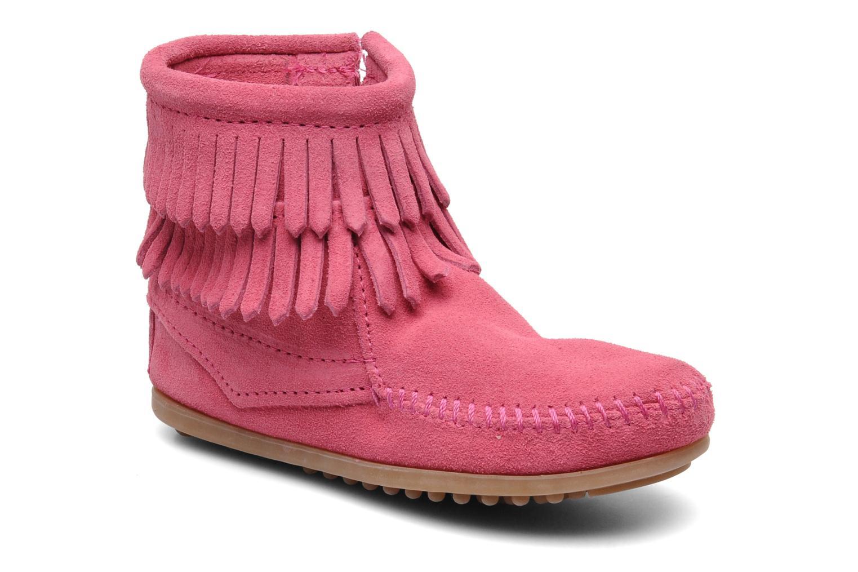 Ankelstøvler Minnetonka Double Fringe bootie G Pink detaljeret billede af skoene