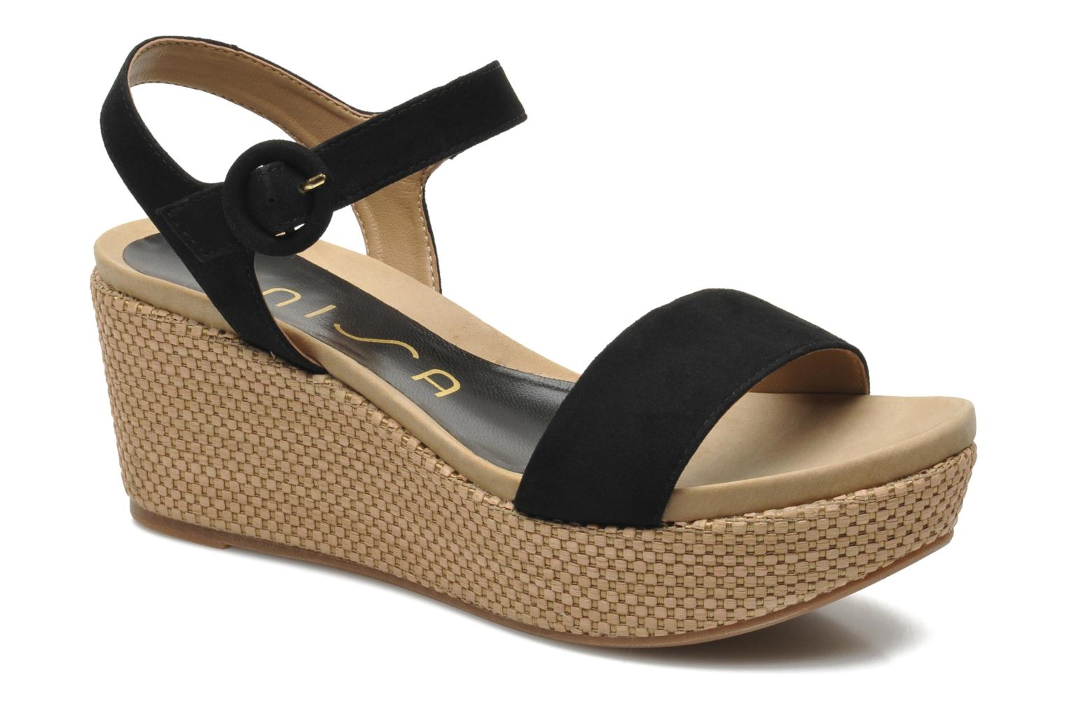 Sandals Unisa Kito Black detailed view/ Pair view
