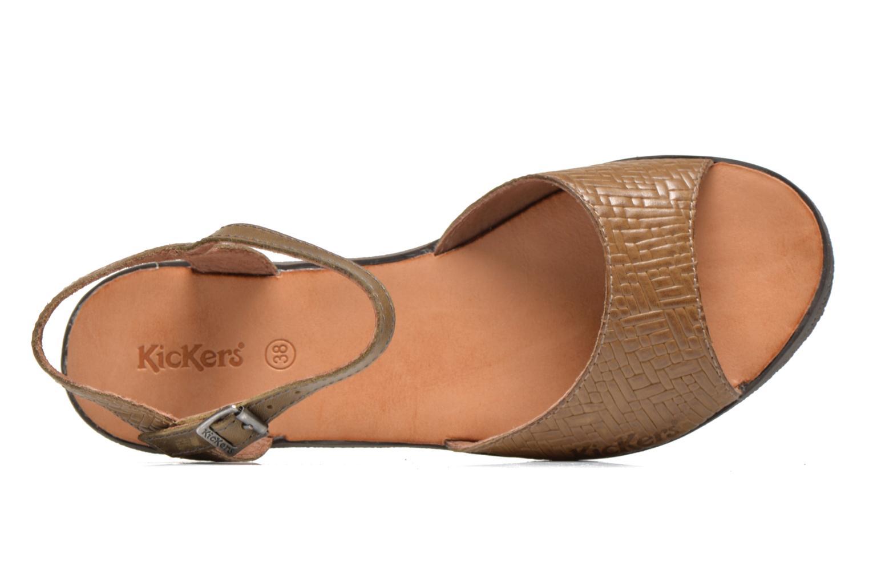 Sandalen Kickers Hypsy grün ansicht von links