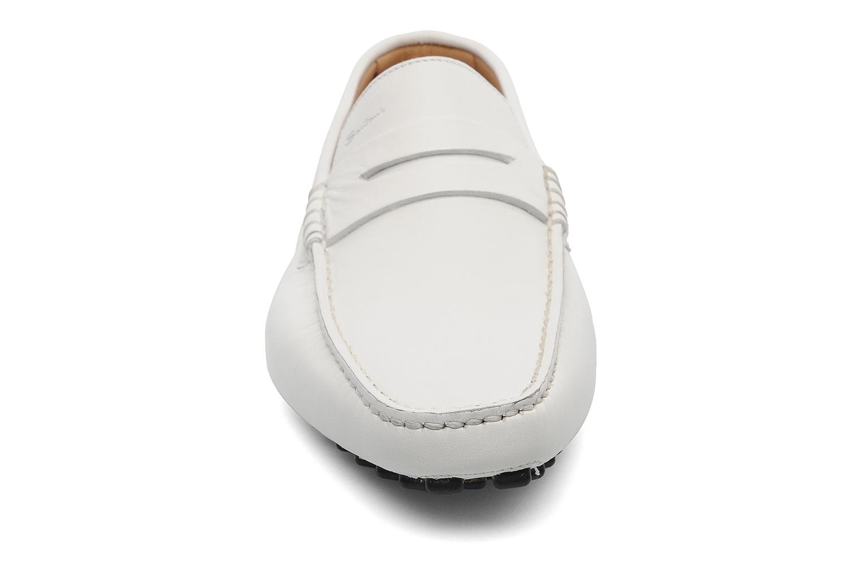 Mocassins Santoni Saint Tropez 11291 Blanc vue portées chaussures