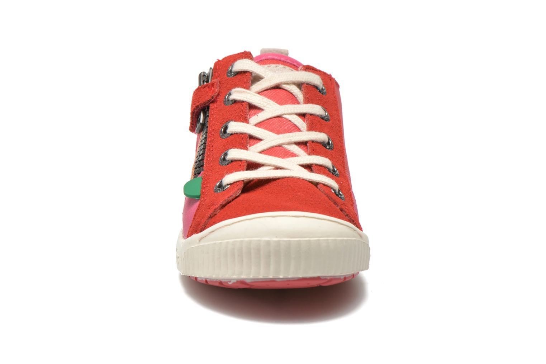 Baskets Kickers Zigzaguer Rose vue portées chaussures