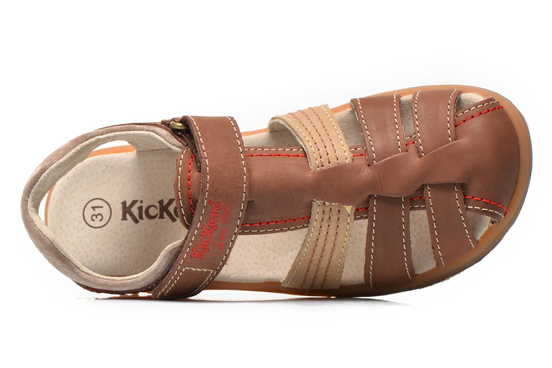 Sandalias Kickers Platinium Marrón vista lateral izquierda