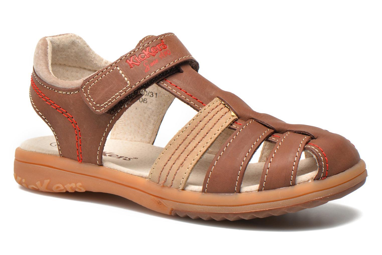 Sandales et nu-pieds Kickers Platinium Marron vue détail/paire