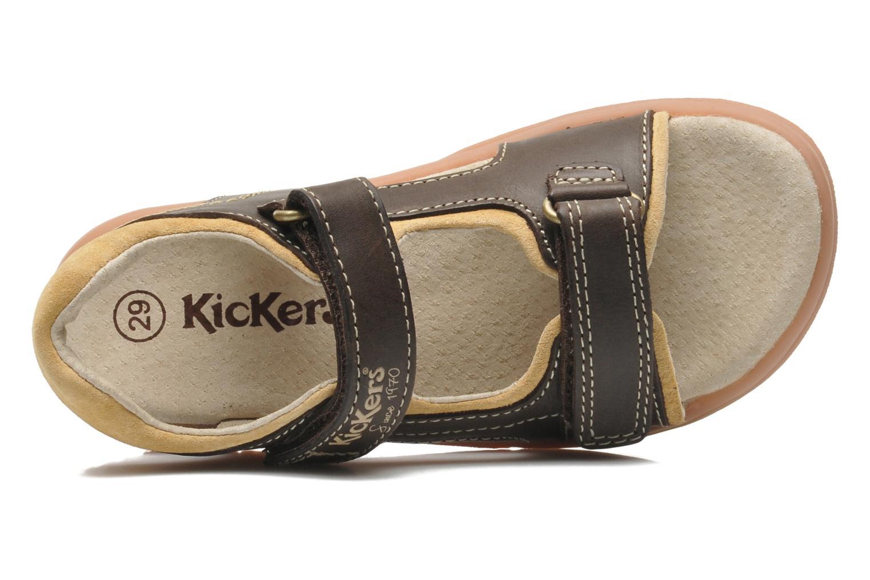 Sandalen Kickers Platino braun ansicht von links