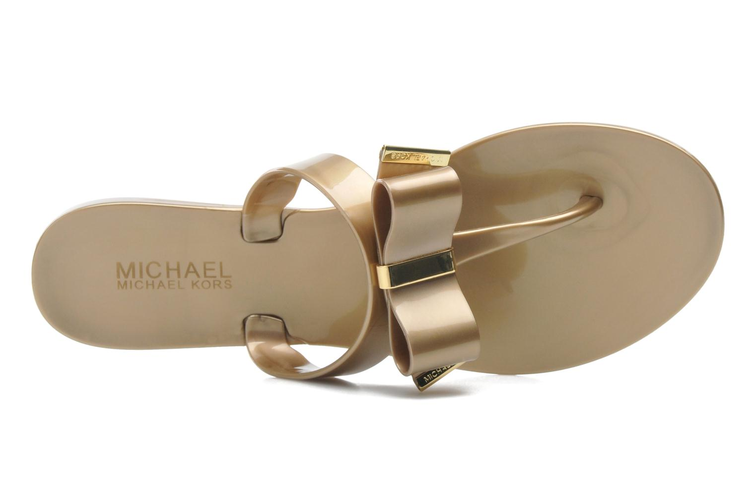 Flip flops Michael Michael Kors Kayden Jelly Bronze and Gold view from the left