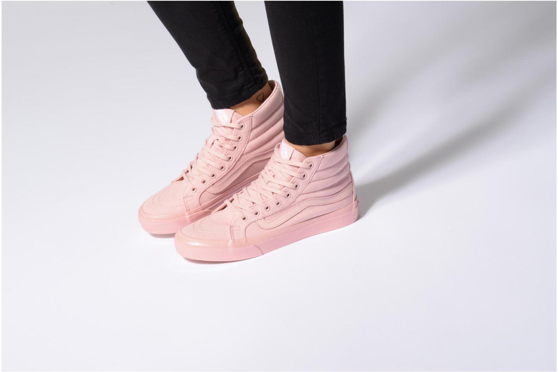 Sneaker Vans Sk8-Hi Slim W schwarz ansicht von unten / tasche getragen
