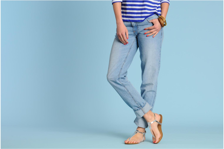 Sandales et nu-pieds Georgia Rose Lufluo cuir Blanc vue bas / vue portée sac