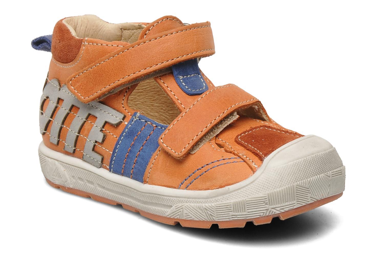 Velcro shoes Babybotte SILVIO Orange detailed view/ Pair view