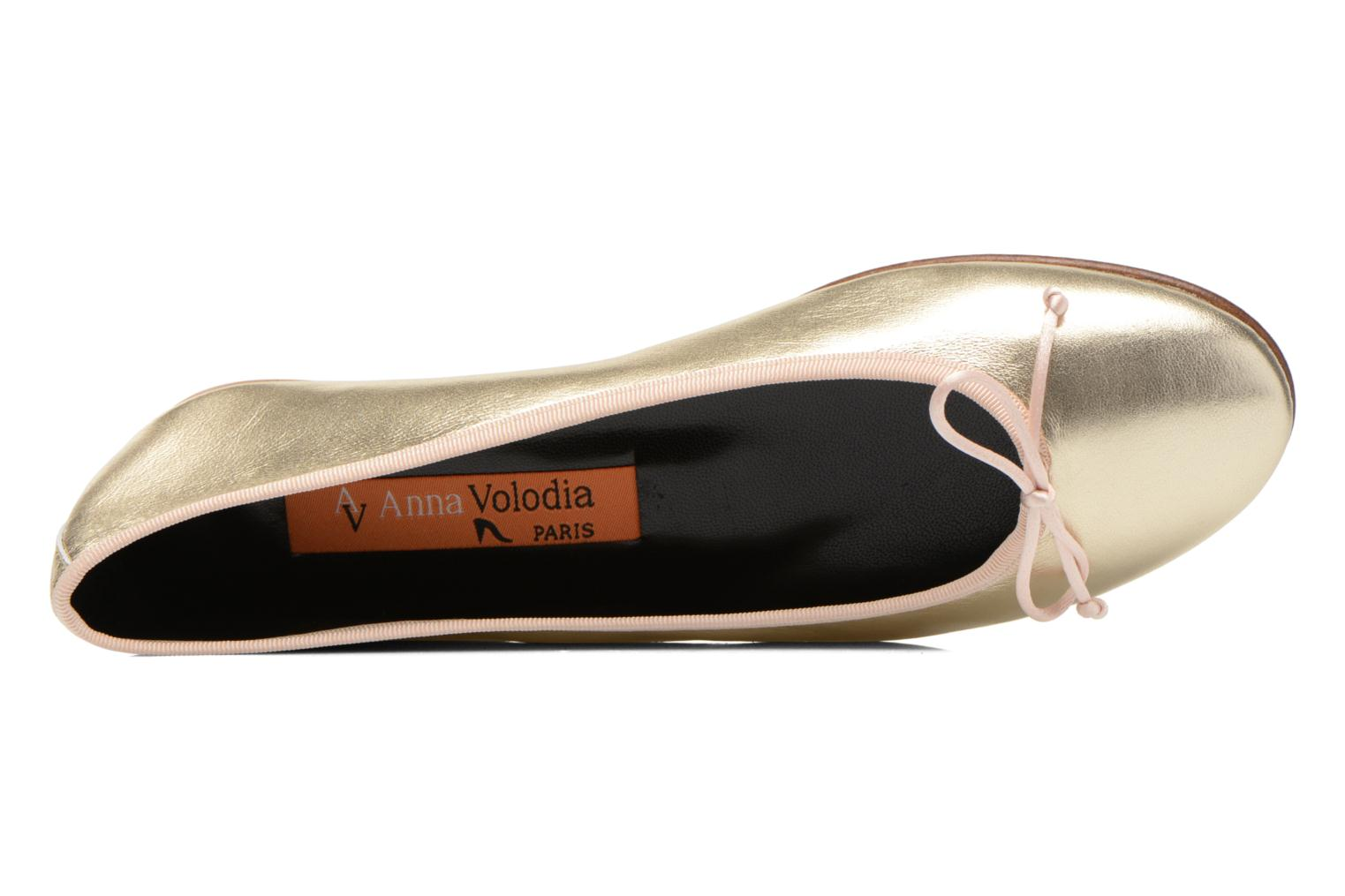 Ballet pumps Anna Volodia Luna Bronze and Gold view from the left