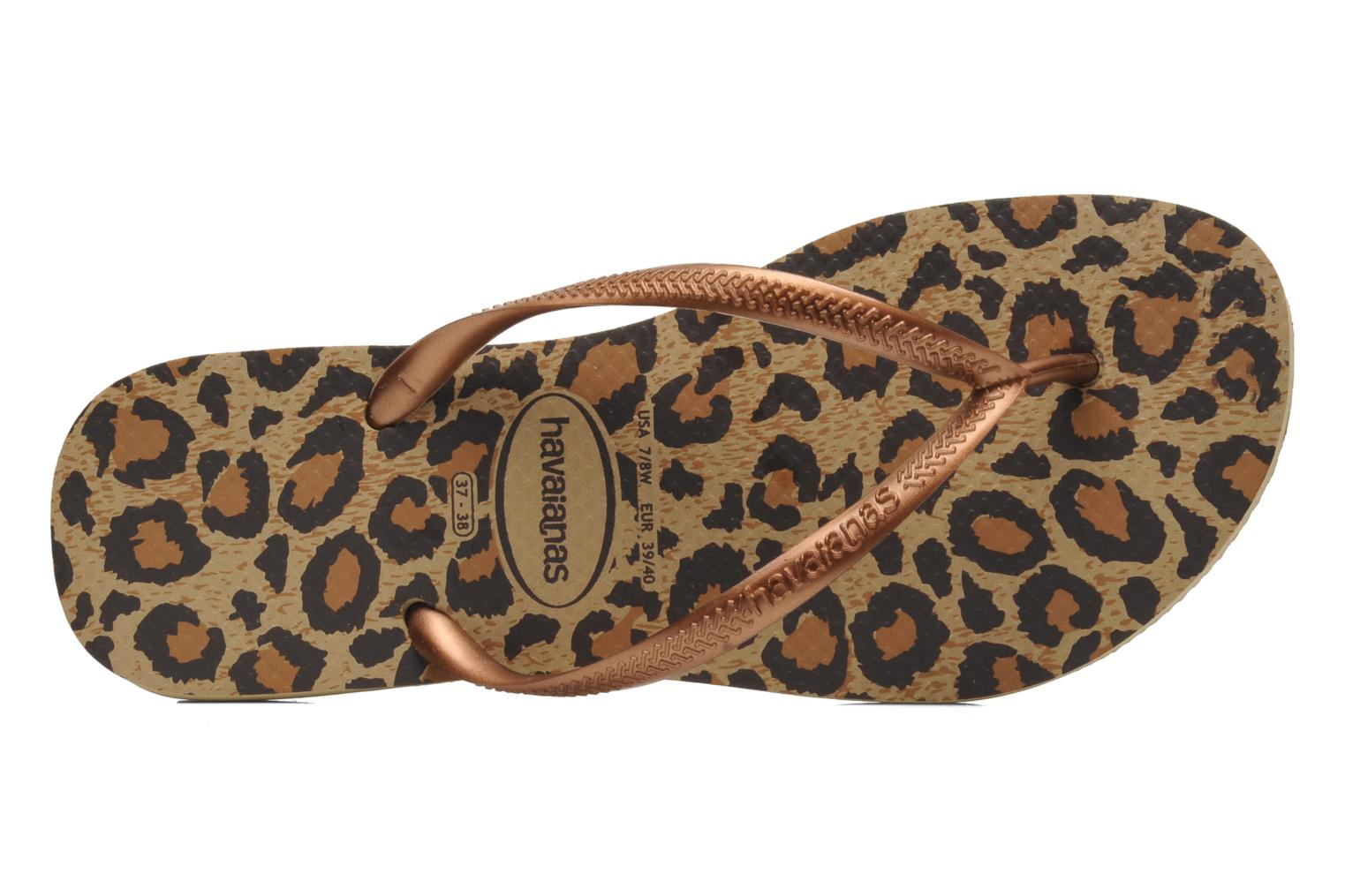 Flip flops Havaianas Slim Animals Brown view from the left