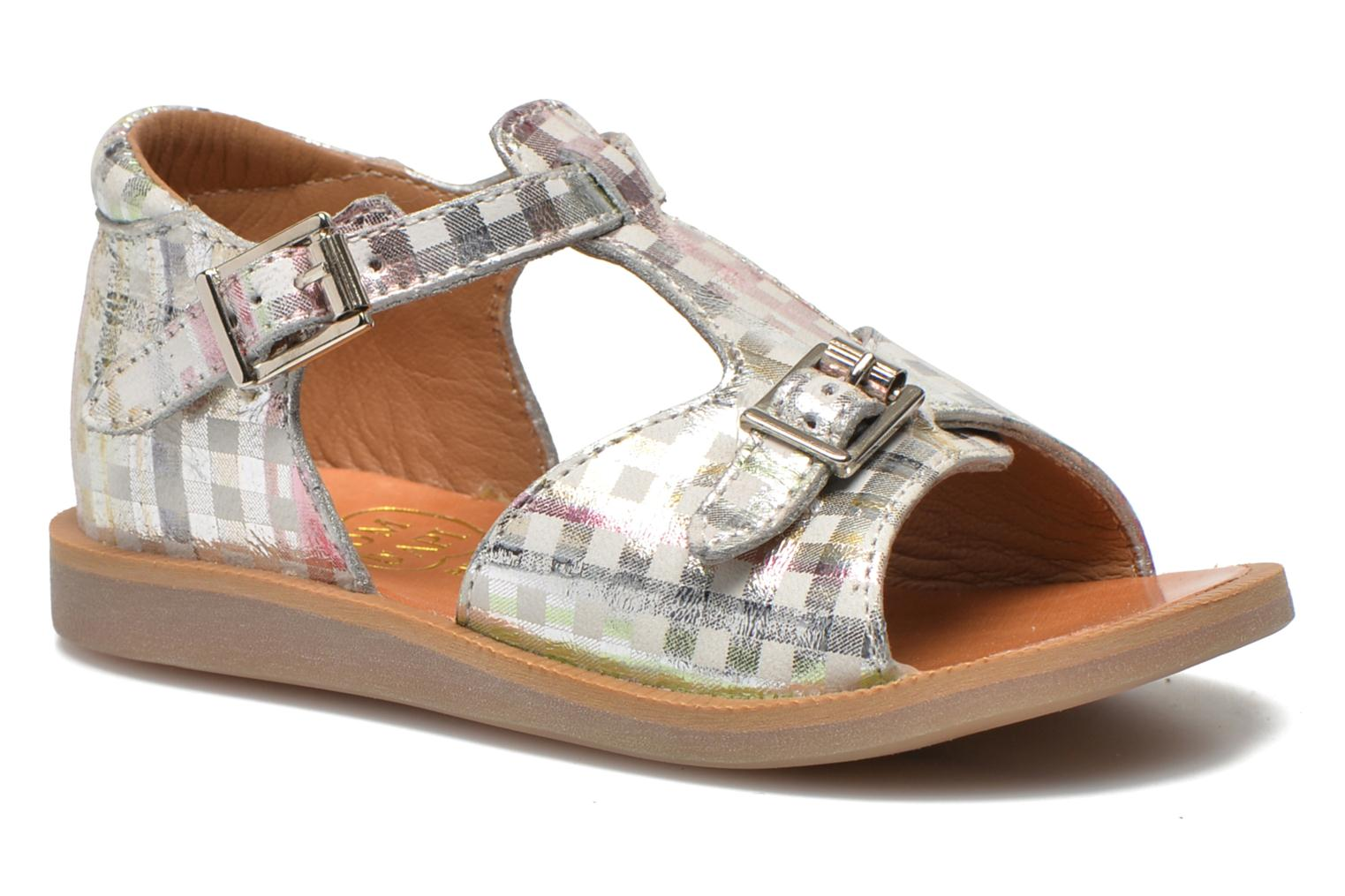 Sandals Pom d Api POPPY BUCKLE Silver detailed view/ Pair view