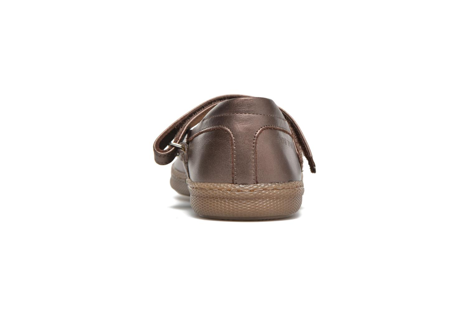 Ballet pumps Pom d Api NEW SCHOOL BABY Bronze and Gold view from the right