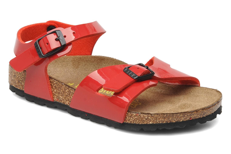 Sandals Birkenstock Rio Birko Flor Red detailed view/ Pair view
