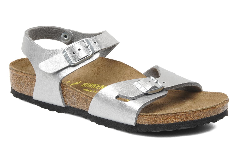 Sandals Birkenstock Rio Birko Flor Silver detailed view/ Pair view