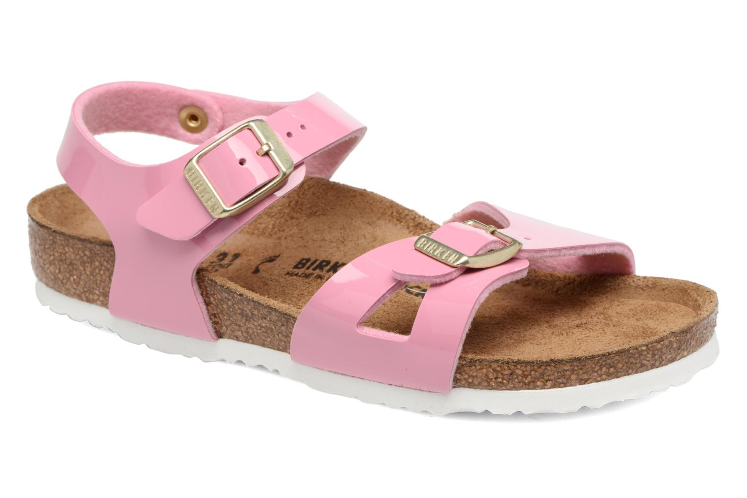 Sandals Birkenstock Rio Birko Flor Pink detailed view/ Pair view
