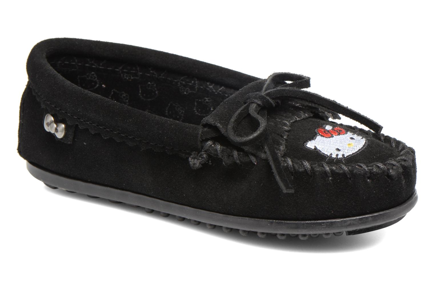 Loafers Minnetonka Hello Kitty Moc Black detailed view/ Pair view
