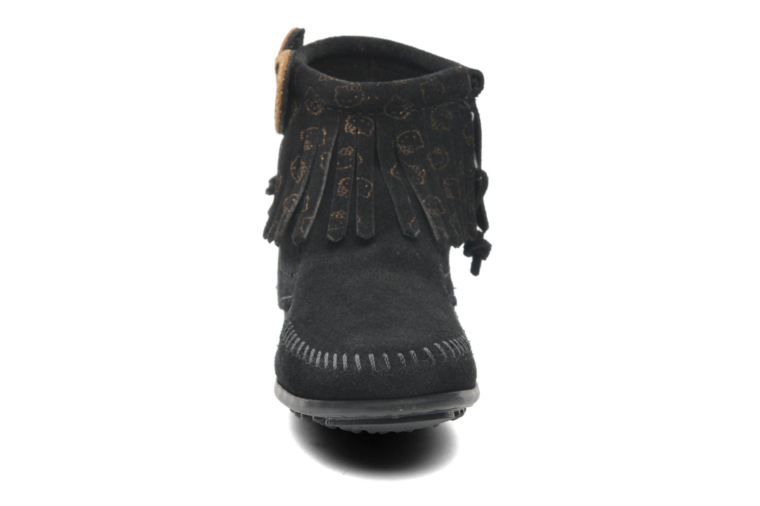 Ankle boots Minnetonka Hello Kitty Fringe Bootie Black model view