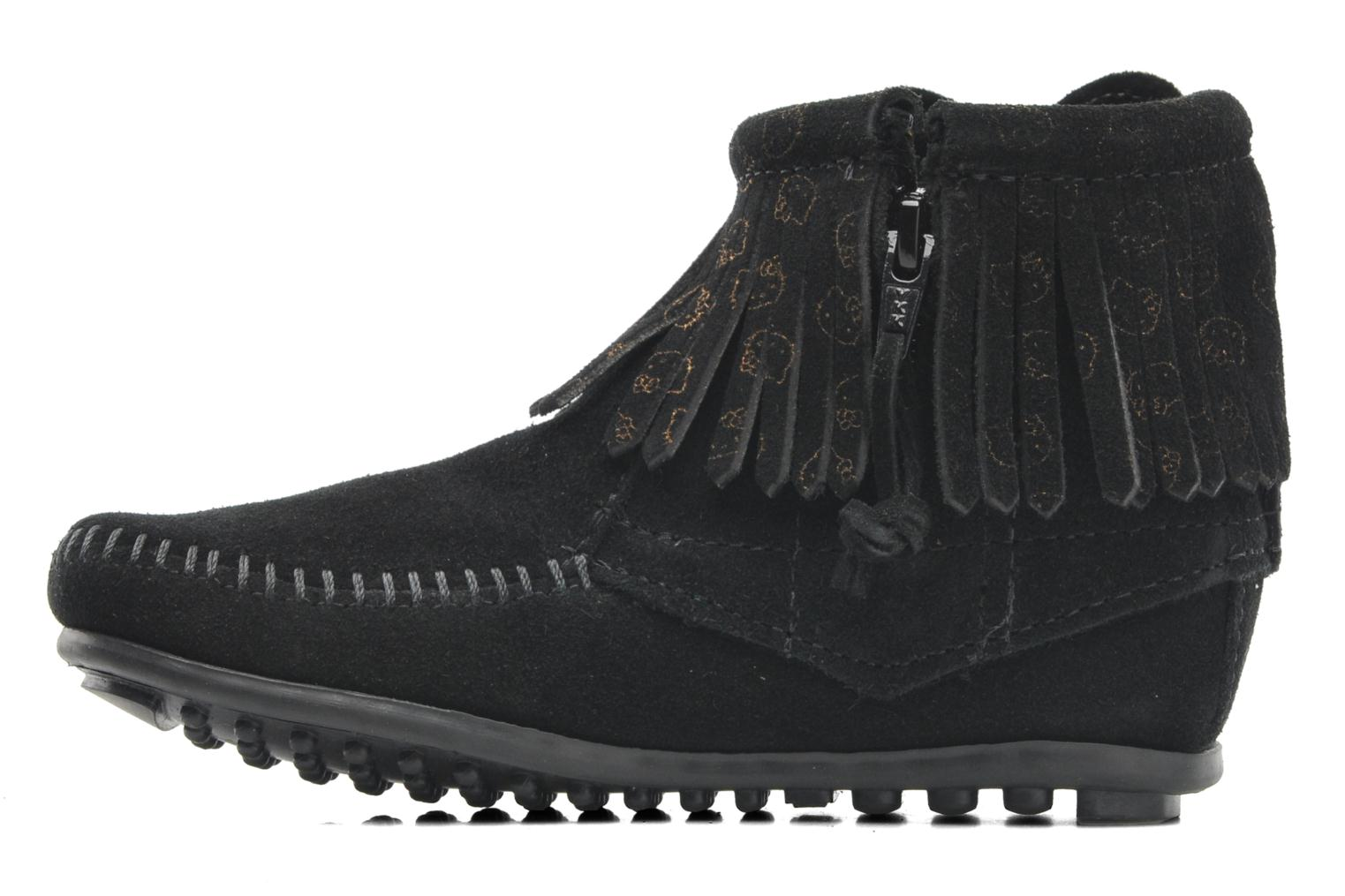 Ankle boots Minnetonka Hello Kitty Fringe Bootie Black front view