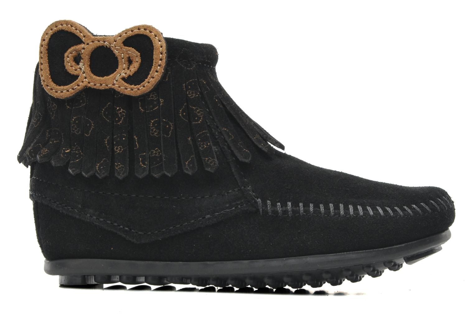 Ankle boots Minnetonka Hello Kitty Fringe Bootie Black back view