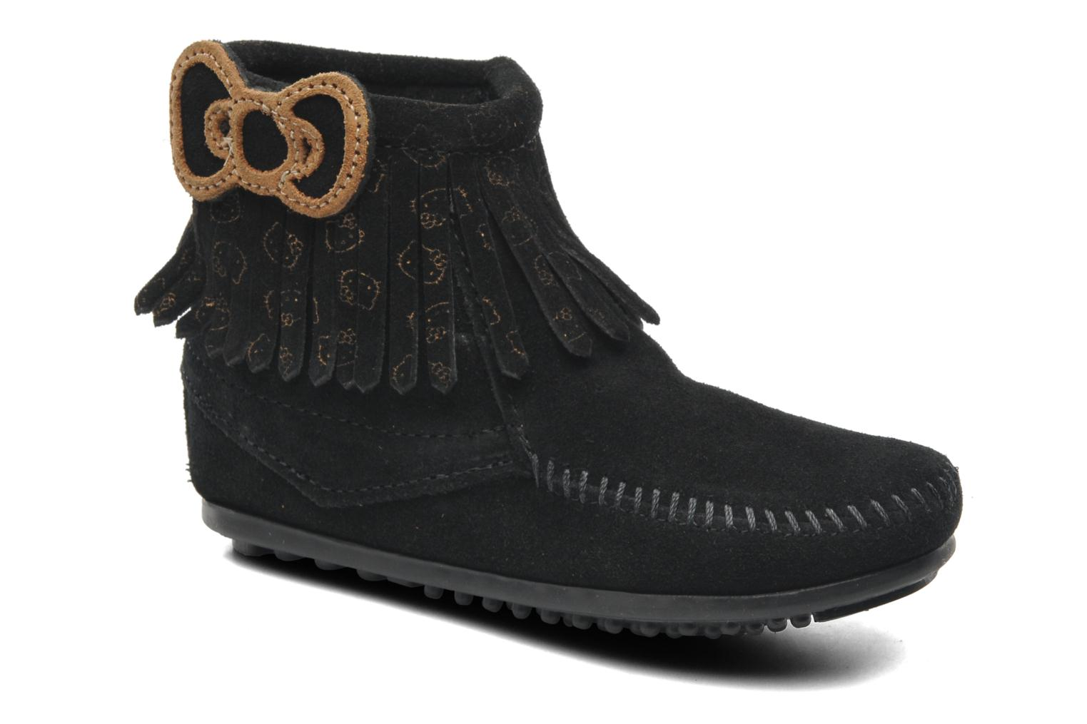 Ankle boots Minnetonka Hello Kitty Fringe Bootie Black detailed view/ Pair view