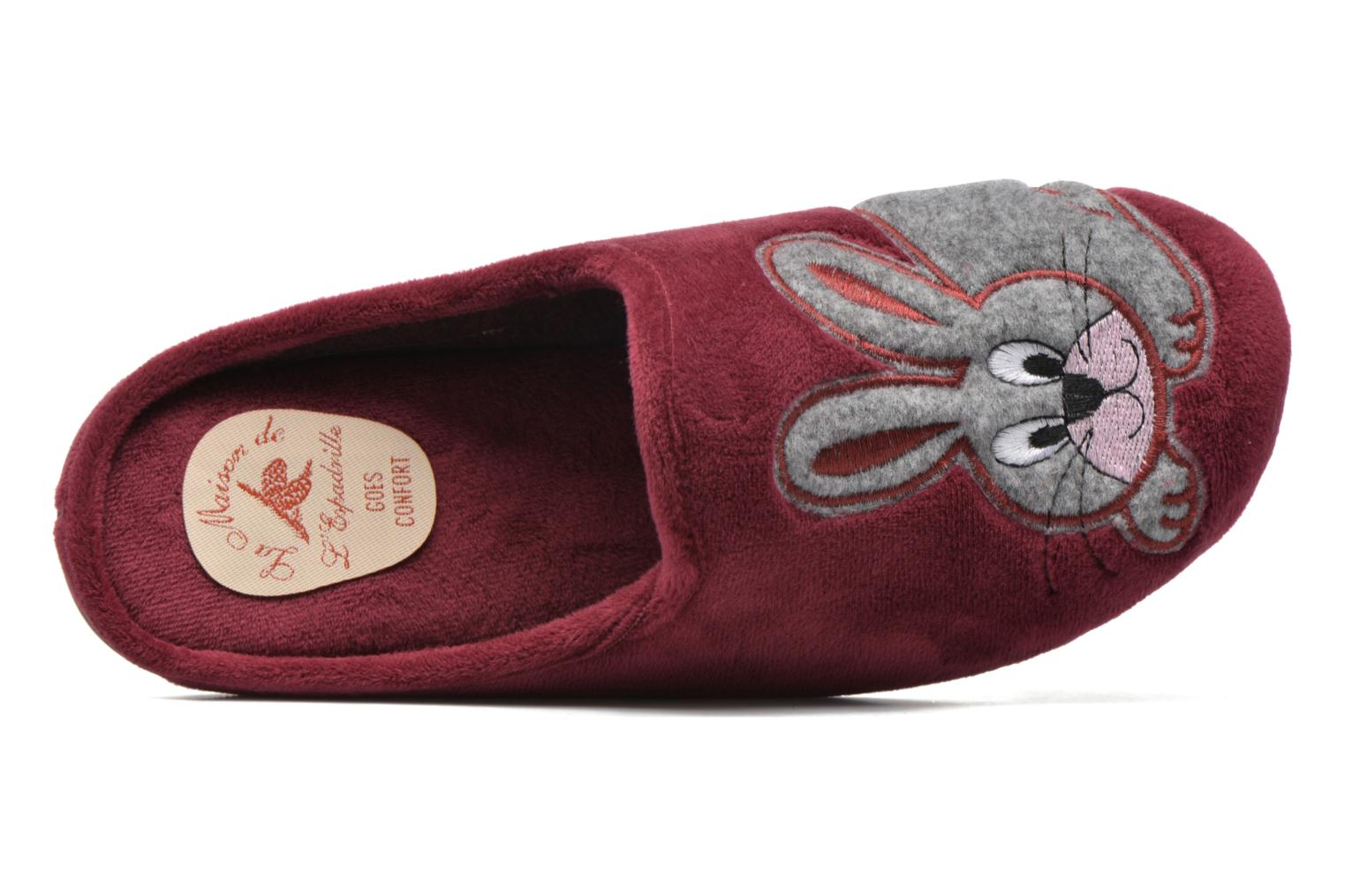 Slippers La maison de l'espadrille Lou Burgundy view from the left