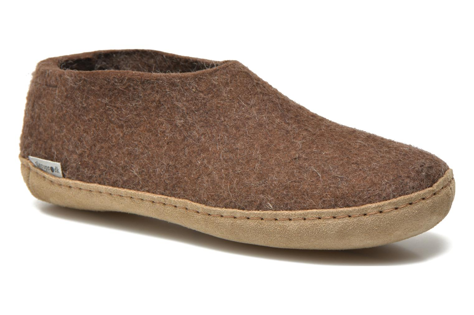 Slippers Glerups Porter W Brown detailed view/ Pair view