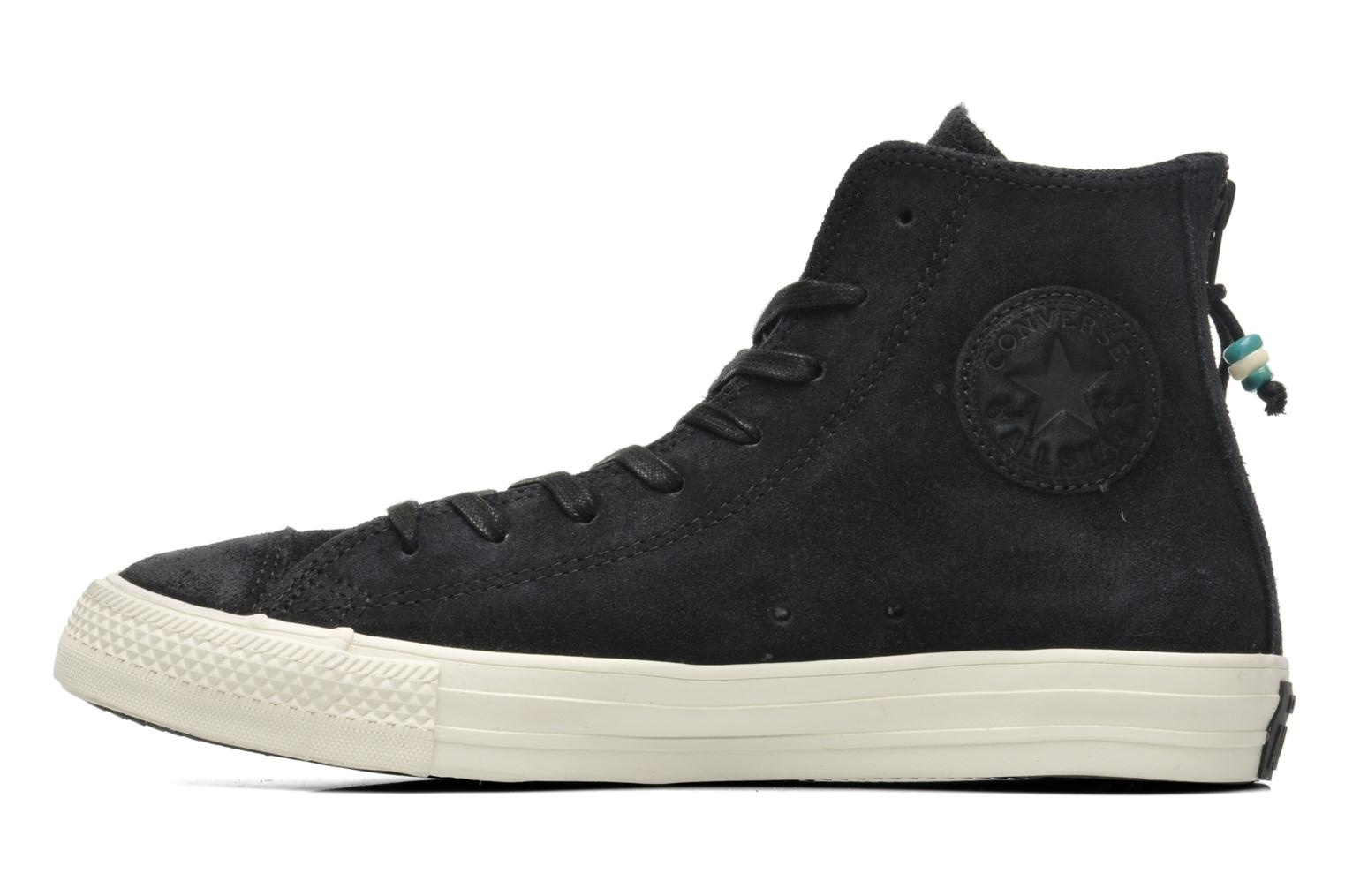 Baskets Converse Chuck Taylor Burnished Suede Double Zip Hi M Noir vue face