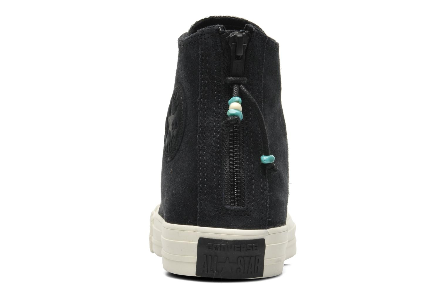 Trainers Converse Chuck Taylor Burnished Suede Double Zip Hi M Black view from the right