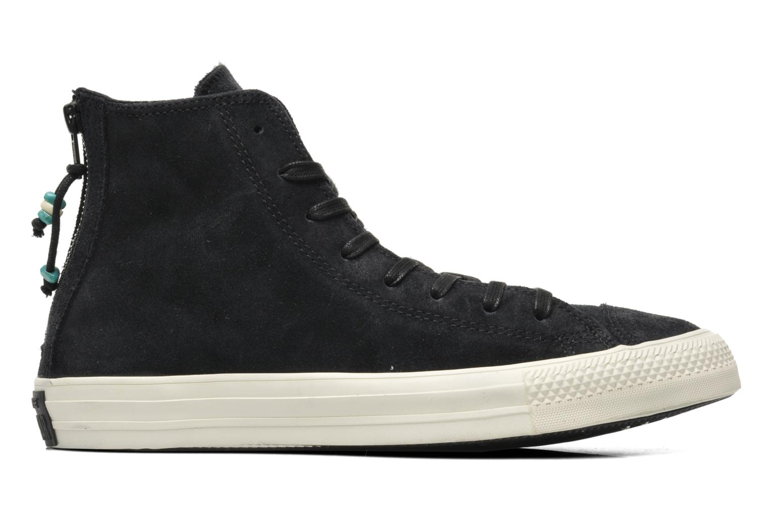 Baskets Converse Chuck Taylor Burnished Suede Double Zip Hi M Noir vue derrière