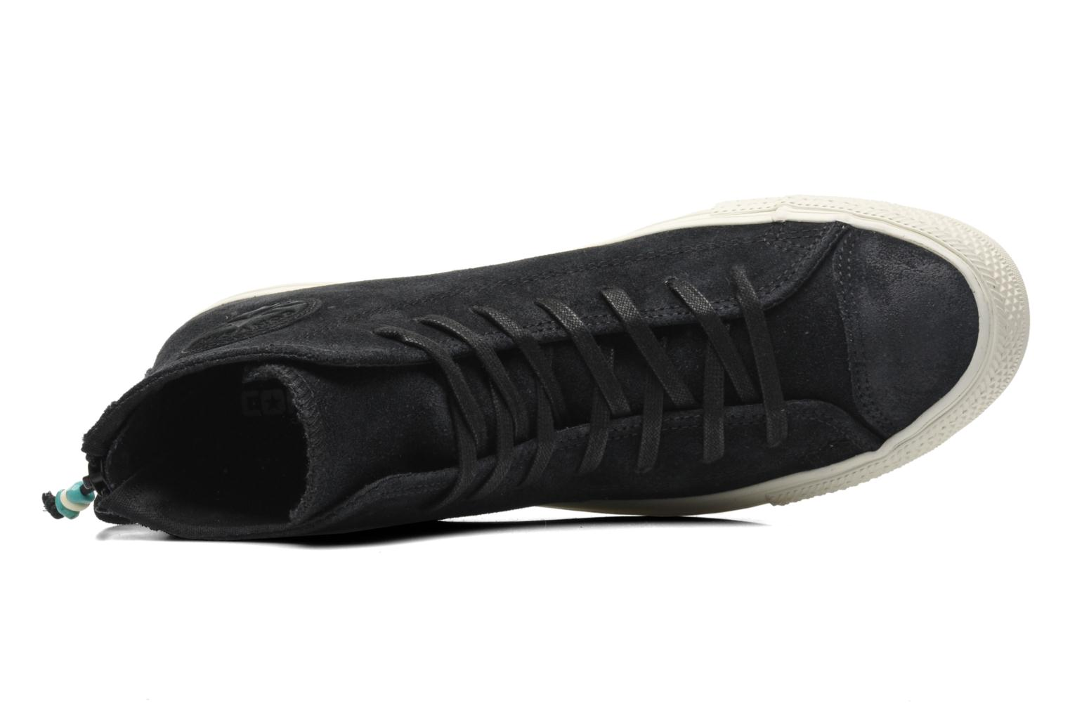 Trainers Converse Chuck Taylor Burnished Suede Double Zip Hi M Black view from the left