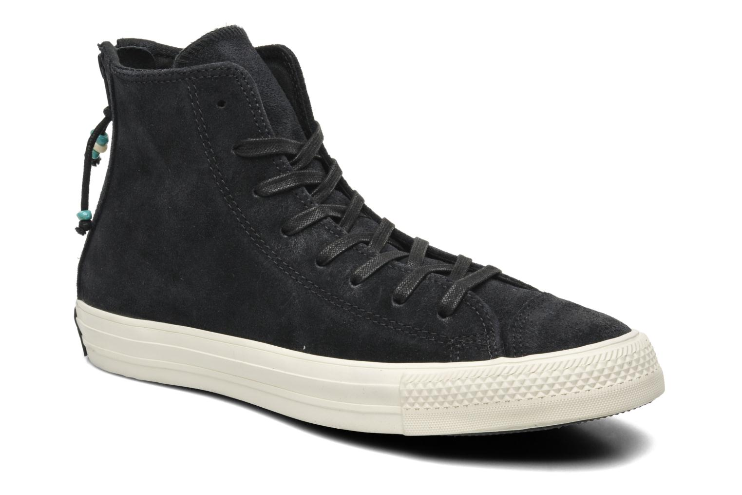 Baskets Converse Chuck Taylor Burnished Suede Double Zip Hi M Noir vue détail/paire