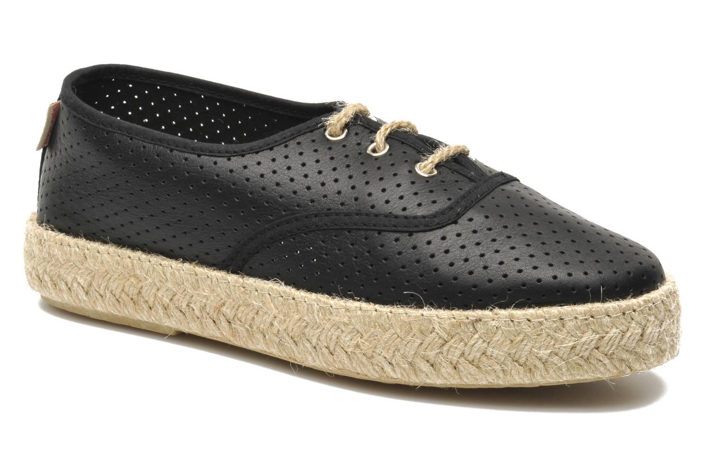 Lace-up shoes Pare Gabia Lotus cuir Black detailed view/ Pair view