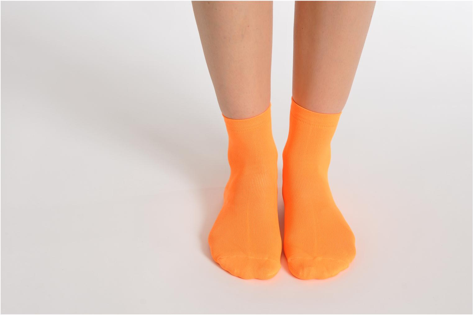 Socks & tights My Lovely Socks Romane Fluo Orange view from underneath / model view