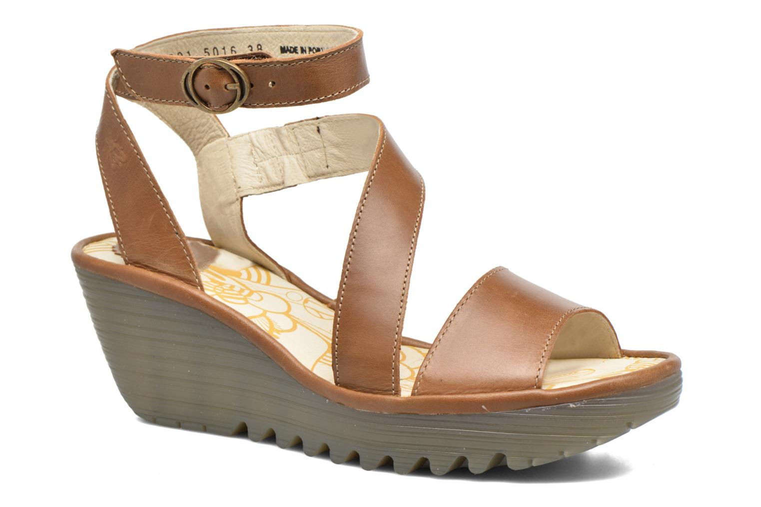 Sandals Fly London Yesk Brown detailed view/ Pair view