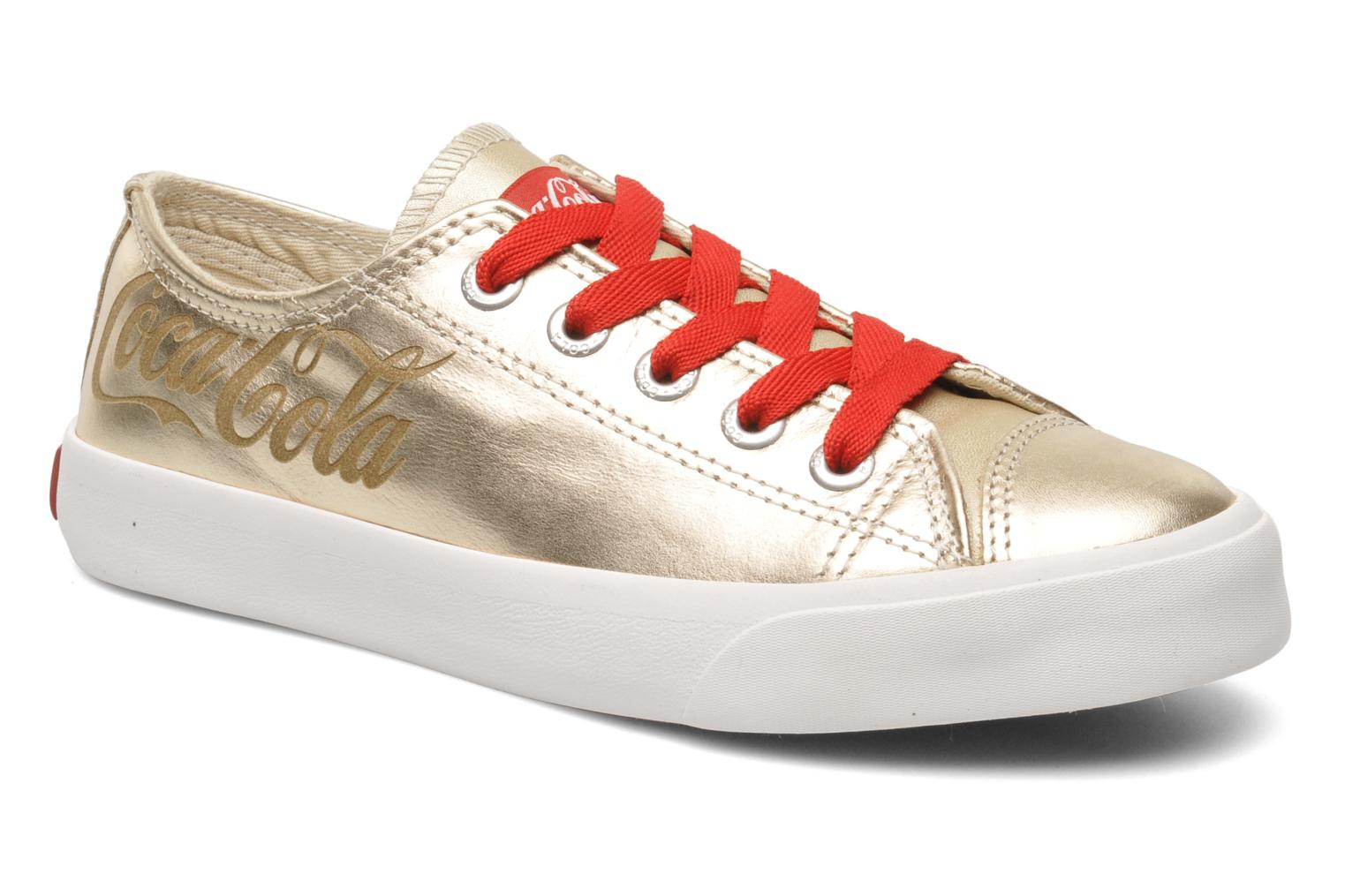 Trainers Coca-cola shoes Plain leather Low Bronze and Gold detailed view/ Pair view