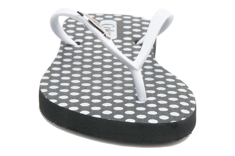 Tongs Coca-cola shoes Dots Blanc vue portées chaussures