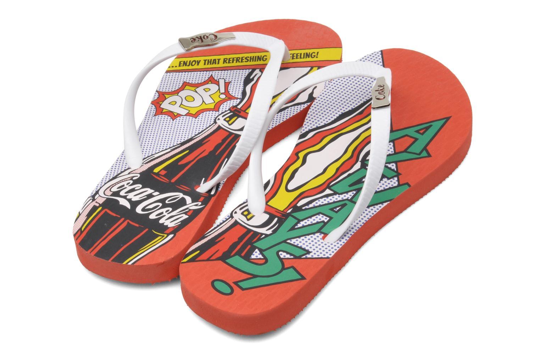 Flip flops Coca-cola shoes Garrafa Girls Red 3/4 view