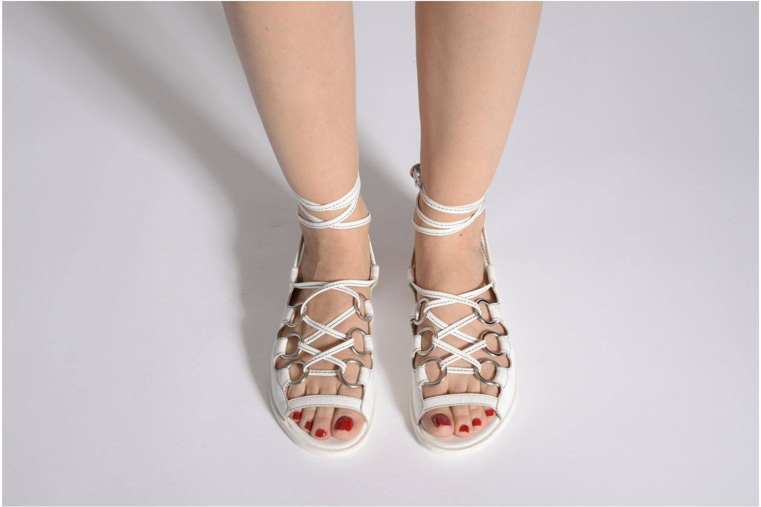 Sandals Opening Ceremony Kali multi ring lace up White view from underneath / model view