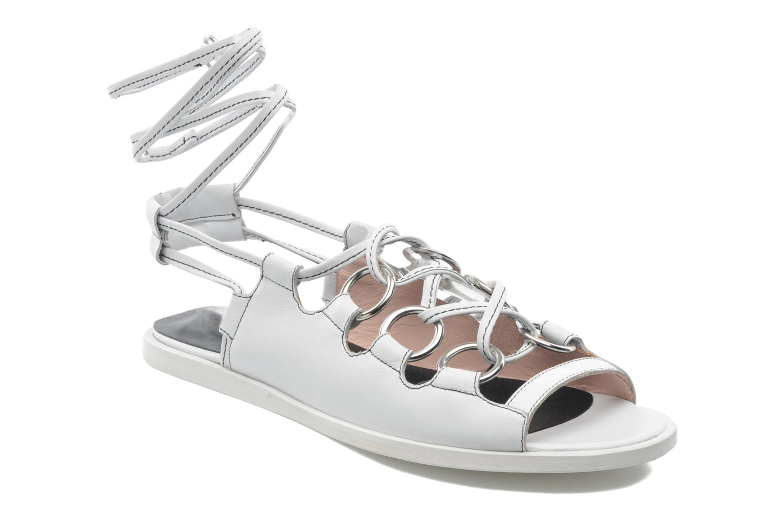 Sandals Opening Ceremony Kali multi ring lace up White detailed view/ Pair view