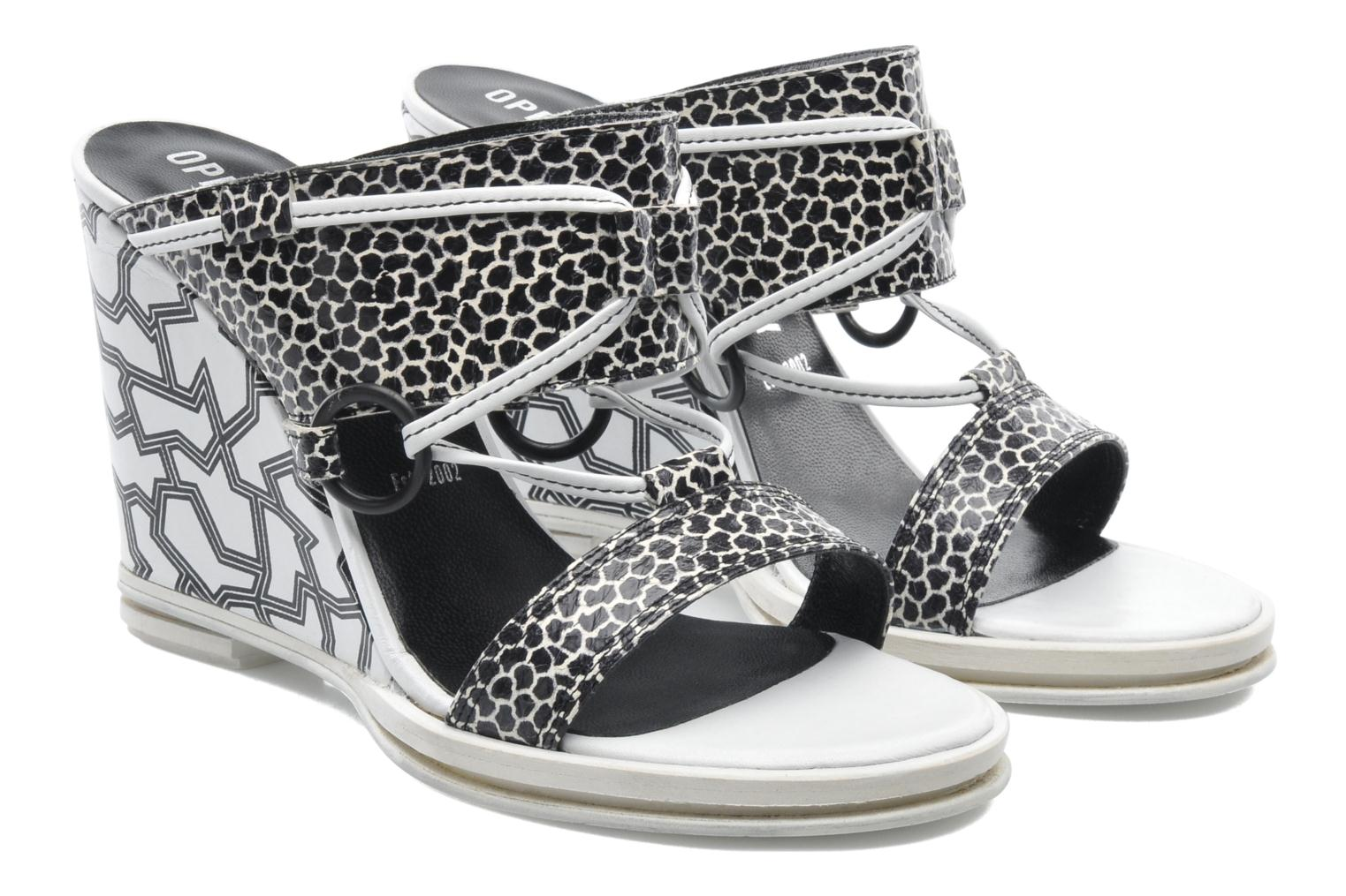 Zuecos Opening Ceremony Mae ankle strap wedge Blanco vista 3/4
