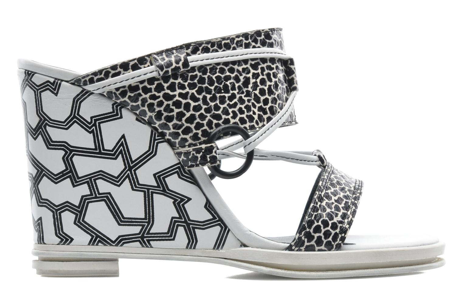 Zuecos Opening Ceremony Mae ankle strap wedge Blanco vistra trasera