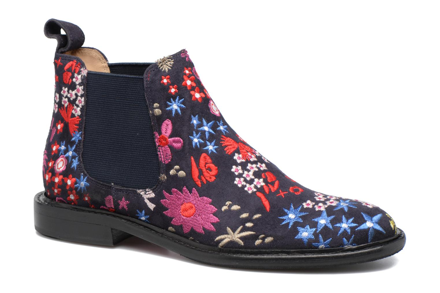 Sally 25 suede navy embrodery elastic navy hrs black