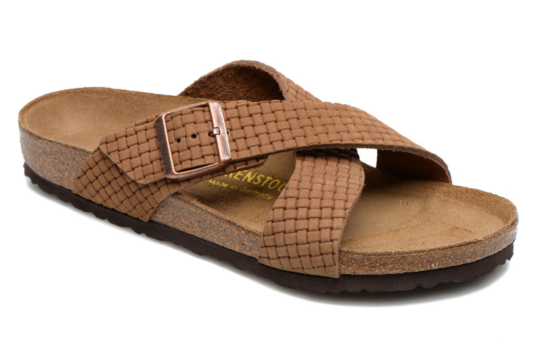 Sandales et nu-pieds Birkenstock Tunis Nubuck M Marron vue détail/paire