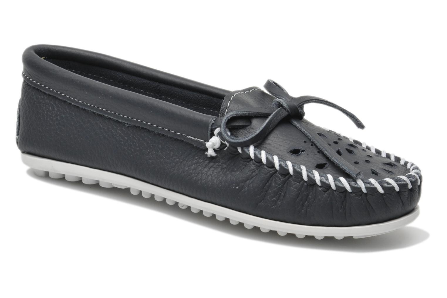 Cut out leather moc Navy leather