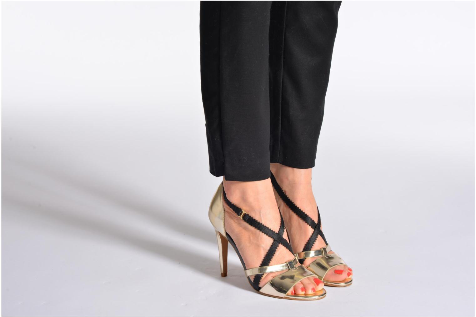 Sandals French Connection Nava Bronze and Gold view from underneath / model view