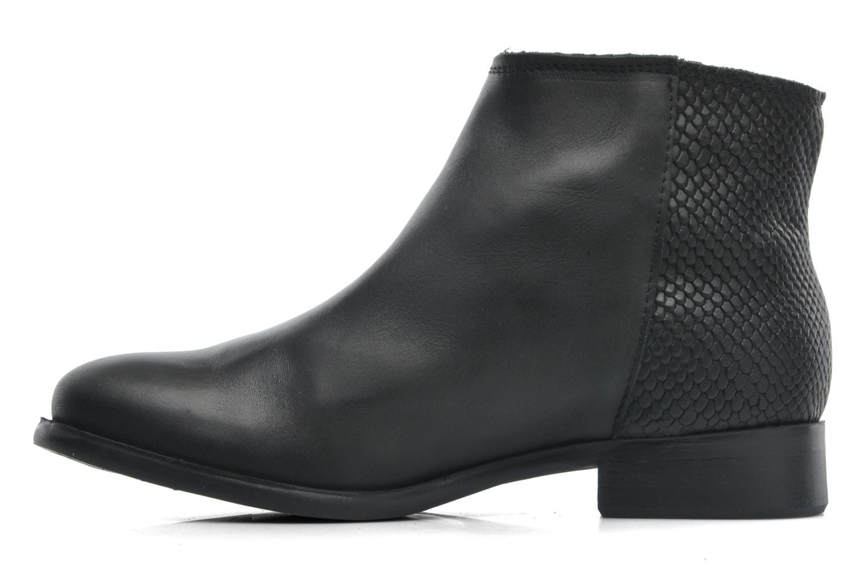 Stiefeletten & Boots Pieces Izi Short Leather Zipper Boot schwarz ansicht von vorne