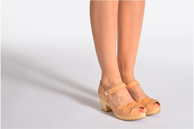 Sandales et nu-pieds Swedish Hasbeens Peep Toe High Beige vue bas / vue portée sac