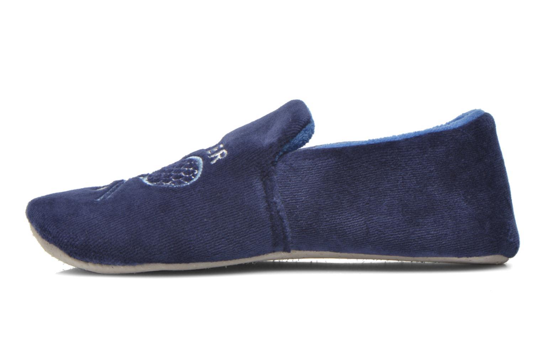 Charentaise Velours Brodée Bleu