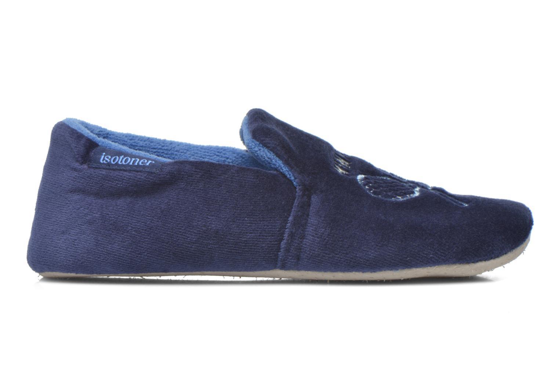 Pantoffels Isotoner Charentaise Velours Brodée Blauw achterkant