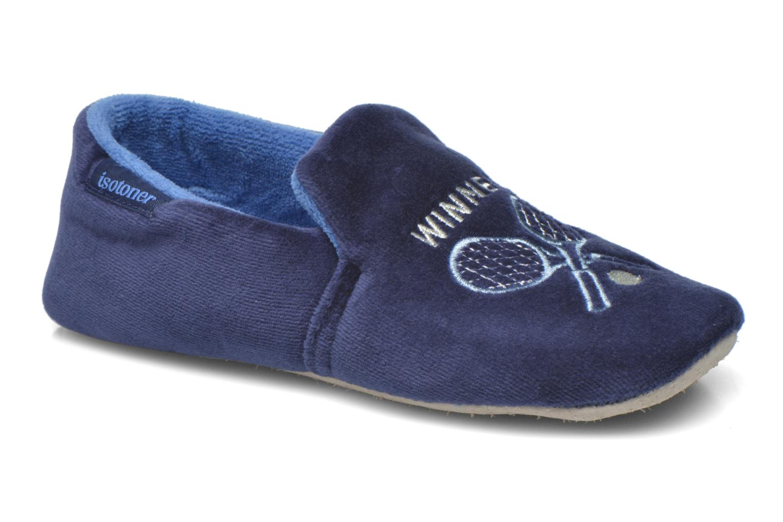 Pantoffels Isotoner Charentaise Velours Brodée Blauw detail
